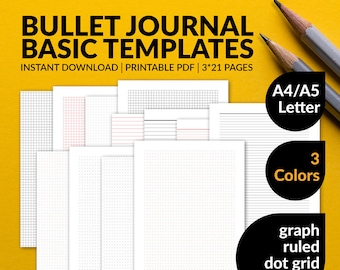 Bullet Journal Template   Dot Grid   Graph Paper   Ruled Paper   Lined Paper   A4   A5   US Letter   Printable Instant Download PDF