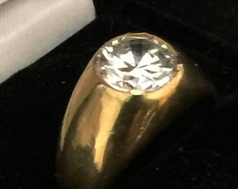 1kt - Diamond Cz (Lab Created)  -14kt Gold Men's Ring Size 9.5