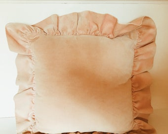 Ruffled Peach Chenille Cushion.
