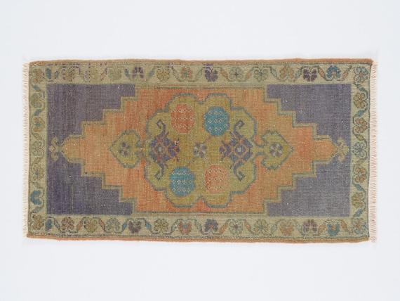 Handmade rug  2.3 x 3 feet Turkish small rug Vintage oushak rug small boho rug Distressed small rug Small area rug Bohemian rug