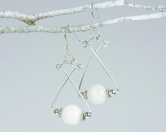 White Spectrolite/Moonstone Earrings With 925 Sterling Silver Earwires.