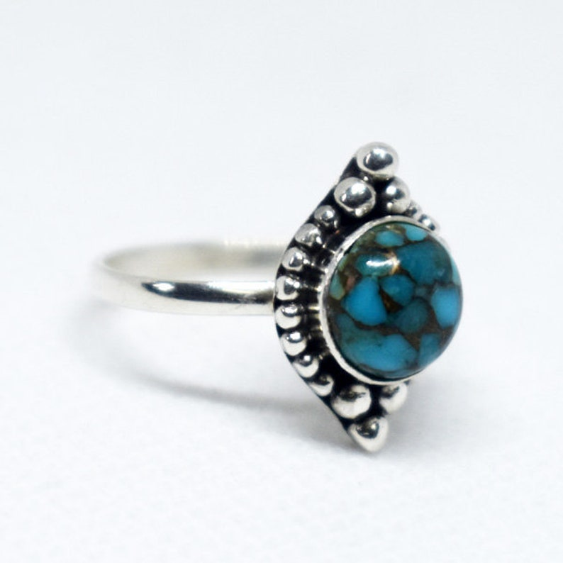 Blue Copper Ring,Blue Copper Turquoise Ring,Solid 925 Sterling Silver Ring,December Birthday Gift,Blue Turquoise,Women/'s Gift,Christmas Gift