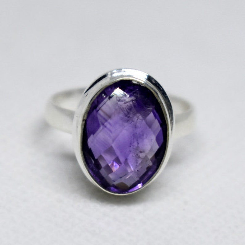 Natural Amethyst Ring,Purple Amethyst Ring,Solid 925 Stering Silver Designer Ring,Birthstone Riing,Handmade Jewelry Faceted Amethyst Ring