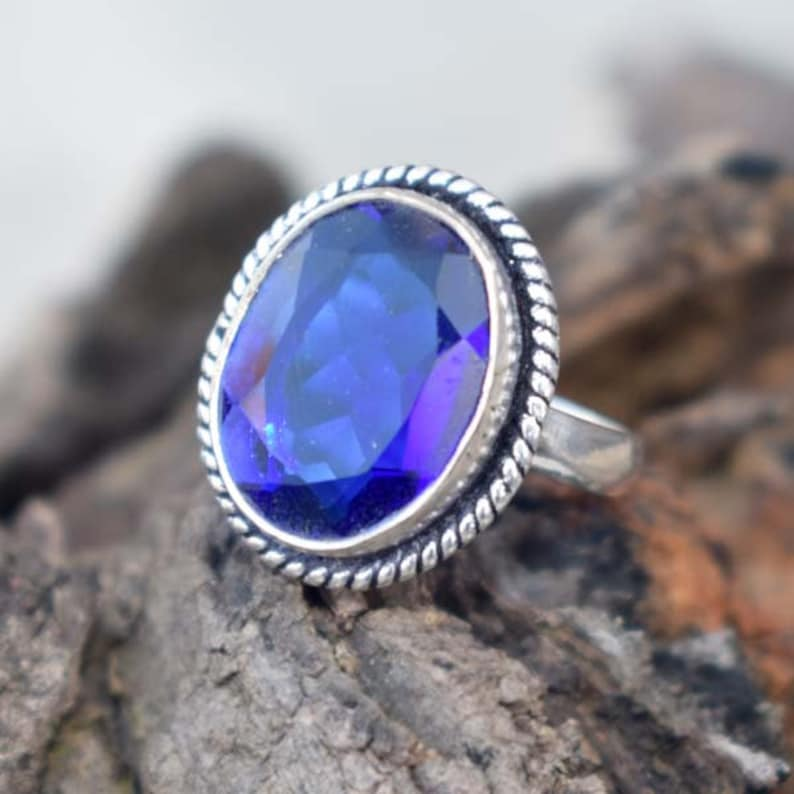 Blue Gemstone Ring Tanzanite Quartz Ring Christams Gift Ring Beautiful Tanzanite Quartz Ring Solid 925 Sterling Silver Faceted Ring