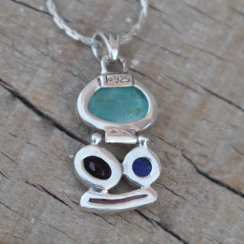 Girls Designer Multi Stone Pendant,Tibetan Turquoise,Lapis Lazuli,Smokey Quartz,Coral Stick Pendant,Solid 925 Sterling Silver Gift Necklace