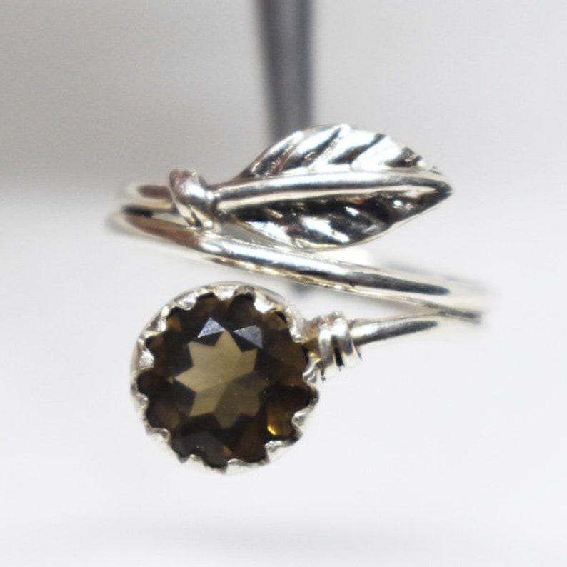 Leaf Smokey Quartz Ring,Handmade Jewelry,Solid 925 Sterling Silver Designer Ring,Brown Gemstone Ring,Smokey Ring,Grown Quartz Ring,Girl Gift