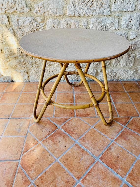 Mid Century Vintage Rattan Bamboo Coffee Table 1960 S Etsy