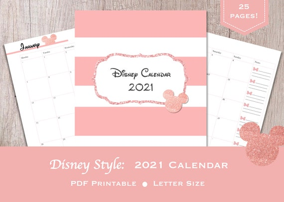 Disney Style 2021 Calendar Rose Gold Minnie Mouse Style Etsy