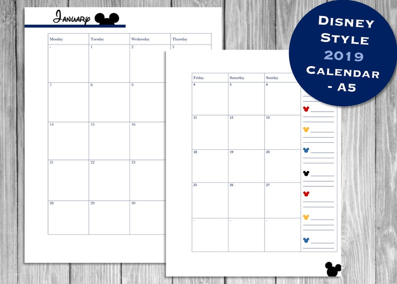 picture regarding Disney Printable Calendar called Disney Layout 2019 Calendar, 2019 Printable Calendar, Immediate Down load