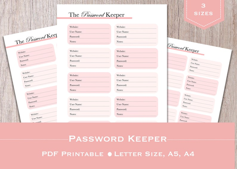 picture regarding Printable Password Keeper called Pword Keeper, Printable Pword Keeper, Pword Keeper Add Total Letter, A5, A4 - Purple