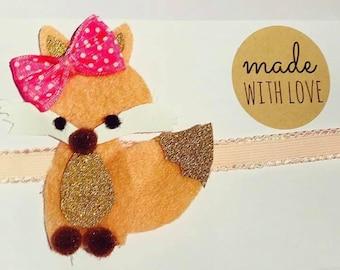 Handmade fox headband/clip