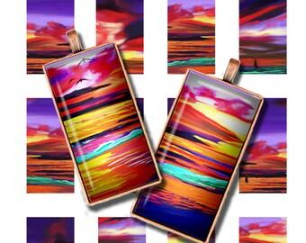 Printable Domino Images, 1 x 2 inch Images for Domino Pendants Downloadable Digital Sunset Coastal Images Magnets Bezels