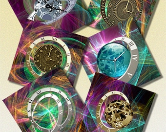 Printable 3.8 inch, 1.5 inch digital coasters images Downloadable digital steampunk images Square Clock Images for pendants, magnets