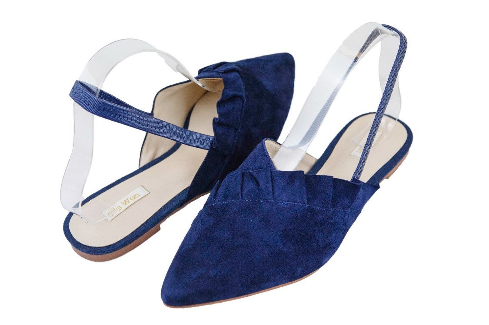 elle won navy sling-back ballet pump in denim suede leather with pleated frill detail.