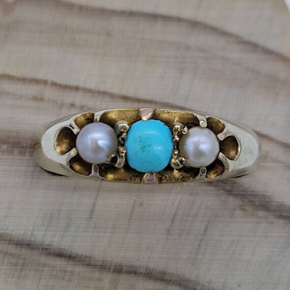 Victorian Turquoise & Pearl Ring