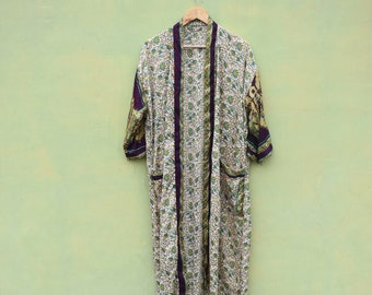 Lightweight Robe Summer Robes Bridesmaid Robe Bridal Robe Wedding Robe Lace Robe Recycle Vintage silk sari kimono Robe Spring Robe