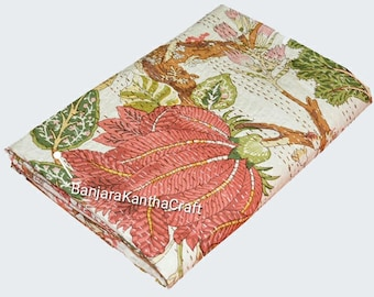 Flower &Tree Cotton Bedspread Kantha Quilt  Bedsheets Bedcover Blanket Throw Baby Quilt Blanket  Queen Size King Size Twin Size for decor