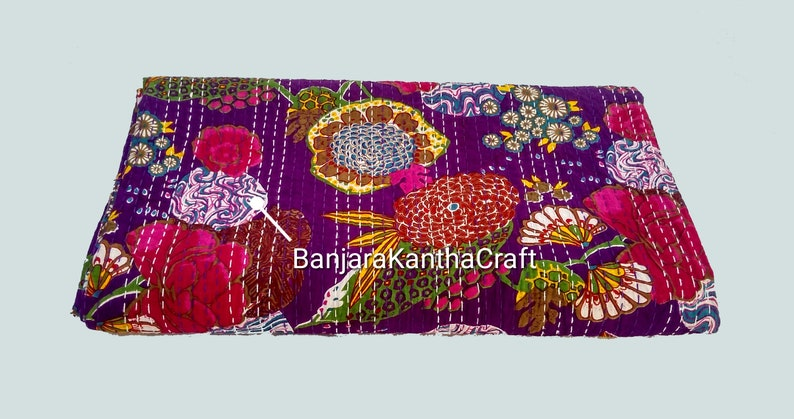 Flower Cotton Bedspread Kantha Quilt embroidery Bedsheets Bedcover Blanket Throw Baby Quilt Blanket Queen Size King Size Twin Size for decor
