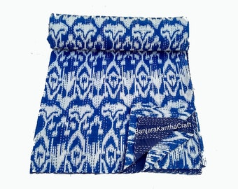 Blue Cotton Kantha Quilt Kantha Throw Bedspread Bedsheets Bedcover Blanket Baby Quilt Sheet Queen Size King Size Twin Size Handmade decor