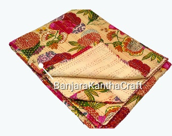 Unique Stylish Cotton Bedspread Kantha Quilt  Bedsheets Bedcover Blanket Throw Baby Quilt Blanket  Queen Size King Size Twin Size for decor