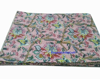 Cream Kantha Quilt Bedspread Bedsheets Bedcover Blanket Throw Baby Quilt Blanket Queen Size King Size Twin Size for decor Coverlet