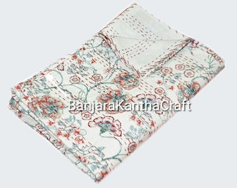 White flower Traditional Stylish Kantha Quilt Bedspread Bedsheets Bedcover Blanket Throw Baby Quilt Blanket Queen Size King Size Twin Size