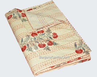 Cream Stylish Kantha Quilt Bedspread Bedsheets Bedcover Blanket Throw Baby Quilt Blanket Queen Size King Size Twin Size for decor Coverlet