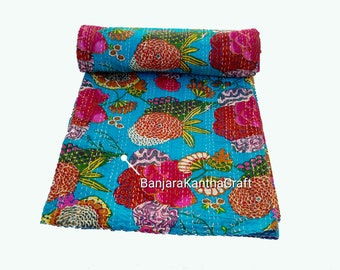 Cotton Flower Traditional Stylish Kantha Quilt Bedspread Bedsheets Bedcover Blanket Throw Baby Quilt Blanket Queen Size King Size Twin Size