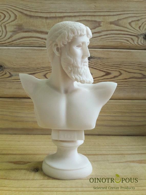 16cm ZEUS Father King of Gods  Bust Head Greek Statue Sculpture figure 6.3in
