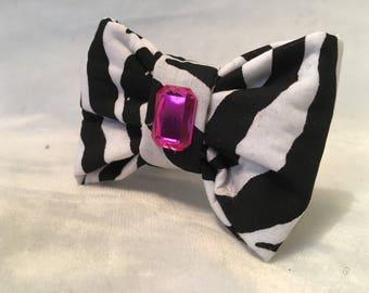Zebra Print Dog Bow Tie - Small