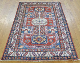 "3'3""x5' Super Kazak Hand Knotted Tribal Design Pure Wool Oriental Rug"