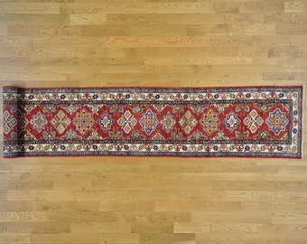 "2'5""x18'2"" Pure Wool Hand Knotted Tribal Super Kazak XL Runner Rug"
