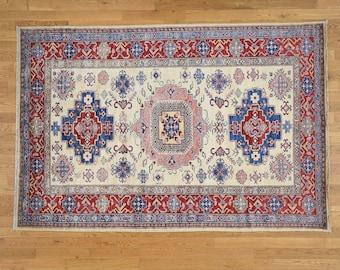 5'5'x8'1'' Hand Knotted Ivory Super Kazak Pure Wool Oriental Rug