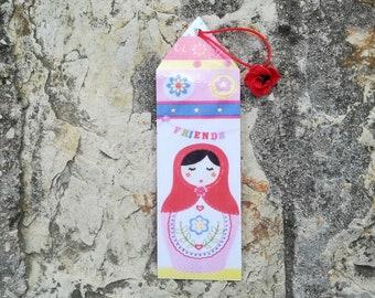 Rectangular, image laminated bookmark matriocka dress pink floral