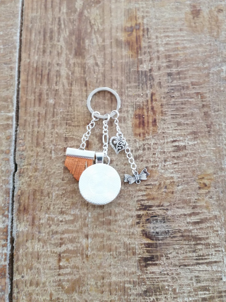Cabochon key ring Silver plated metala golden granny