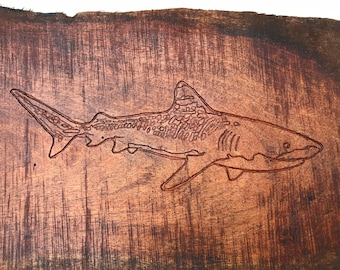 Tiger Shark Mesquite Etching
