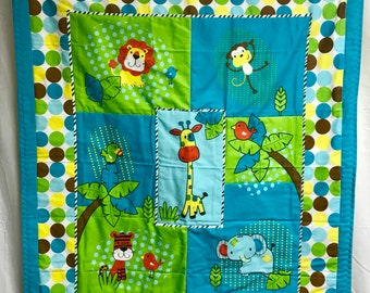 Jungle safari animal baby crib quilt