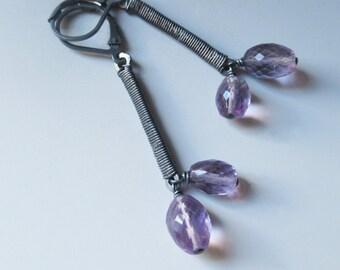 Elongated Amethyst Earrings in Oxidized Sterling Silver.