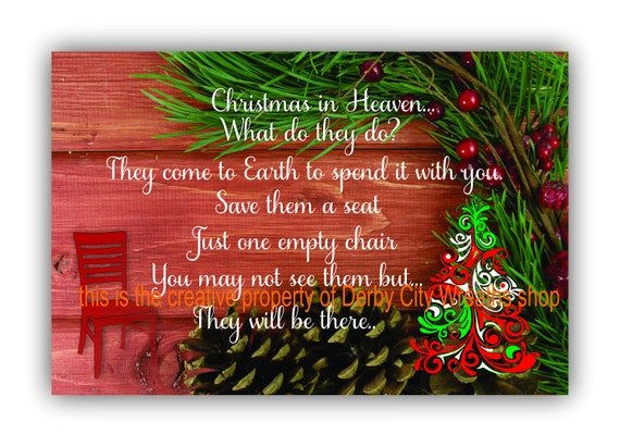 door decor christmas christmas in heaven door hanger sign etsy