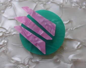 Mod Brooch Green and Pink