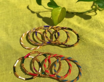 Colorfully Adorned Metal Bangles
