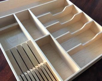 Custom Small Knife Block Drawer Organizer, Maple