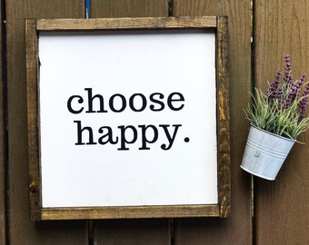Choose Happy Farmhouse Sign Home Decor Signs Decorative