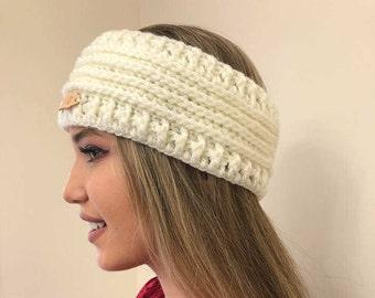 Snow white - Ear Warmer Crochet Headband