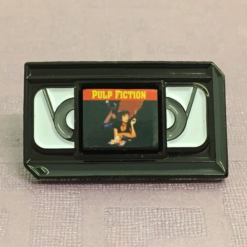Retro Pulp Fiction VHS Tape Enamel Pin with Removable Mini Magnet. Customised Request, Pins, Movies, Enamel Pins, Personal Gift.