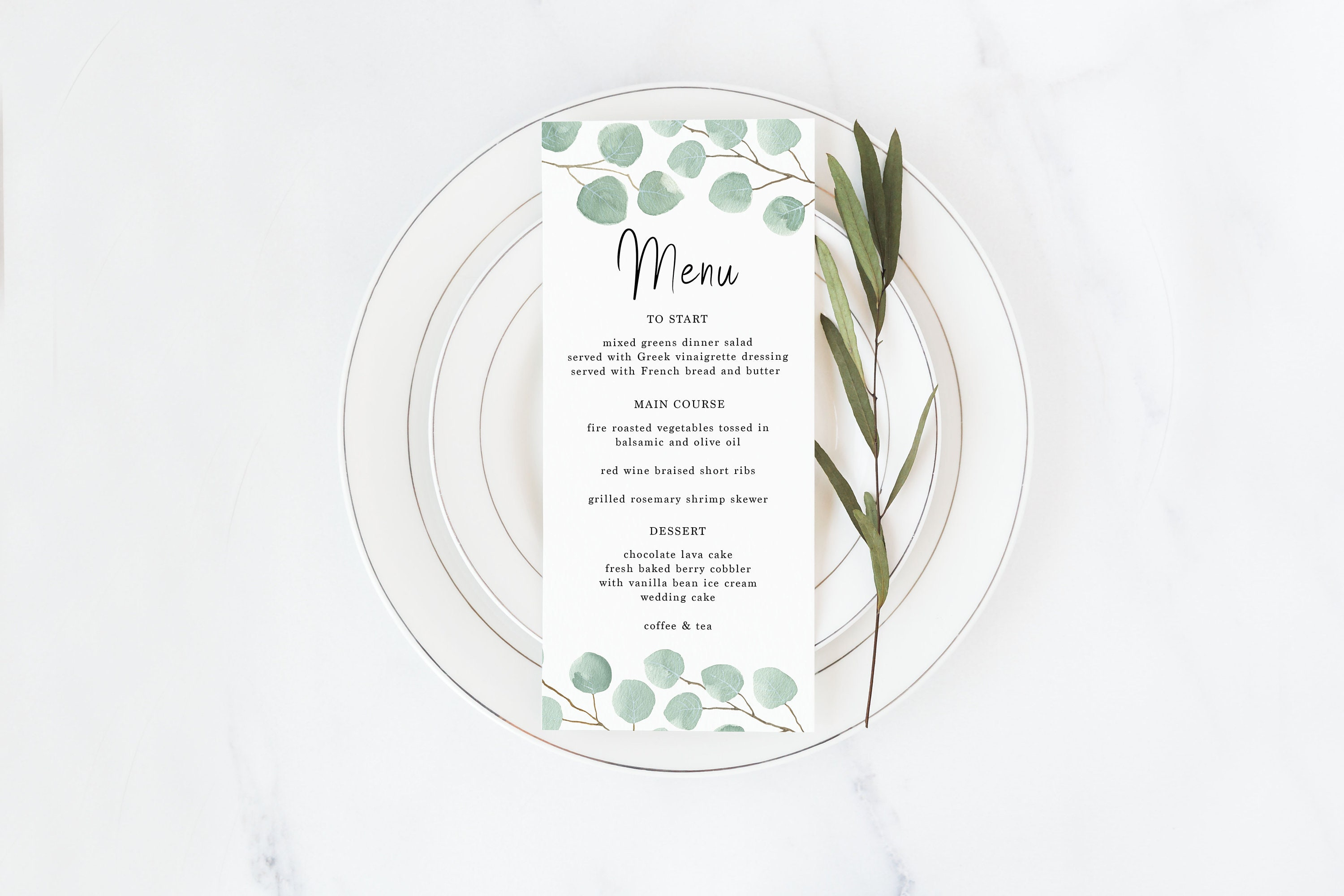 eucalyptus wedding menu card printable eucalyptus custom etsy
