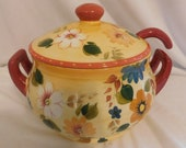 D Oneida Kitchen Hand Painted Sunset Bouquet Soup Tureen w Ladle Eye Catching