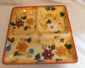 D Oneida Kitchen Hand Painted Sunset Bouquet Large Divided Relish Tray Vibrant Bold Eye Catching