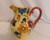 D Oneida Kitchen Hand Painted Sunset Bouquet Water Pitcher 48oz Vibrant Bold Eye Catching