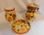 D Oneida Kitchen Hand Painted Sunset Bouquet Trivet - Canister - Utensil Holder Vibrant Bold Eye Catching